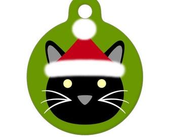 Pet ID Tag - Santa Kitty Pet Tag, Dog Tag, Cat Tag