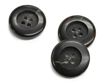 Set of 3 Thick & Modern Genuine Horn Overcoat Buttons, Brownish Black