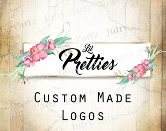 LOGO in PRETTIES•Premade Logo•Jewelry Card Logo•Flower Logo•Custom Logo•Shop Logo