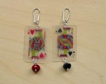 Games, Burraco, lightweight pendant earrings (transparent, Large)