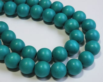 Turquoise Blue wood beads round 16mm full strand eco-friendly Cheesewood 1297NB