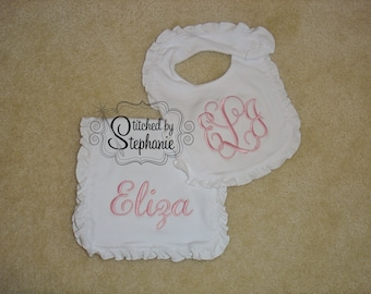 Monogrammed pink on white ruffled bib and burp cloth 3 initial or name personalized baby shower gift set