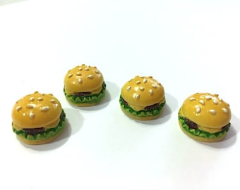 Miniature Hamburger Embellishments 1:6 Scale Set of 4 Flat Back Resin Dollhouse Crafting Supplies Accessories - 281