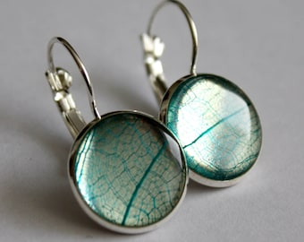 Skeletonized leaf earrings, nature earrings, leaf earrings, made in Canada, minimalist earrings, silver earrings, botanical earrings