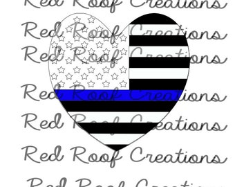 Thin Blue Line SVG, American Flag Thin Blue Line SVG, American Flag Heart SVG, Support Our Blue Families, Police support svg