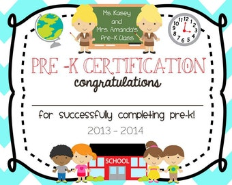 Pre School Kindergarten Graduation Diploma Certificate - Printable - Custamizable