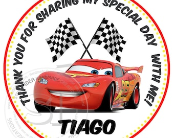 """Custom Stickers- Lightning Mcqueen Thank you Birthday 2.5"""" STICKERS-Red-Black Racing cars 2.5"""" Stickers"""