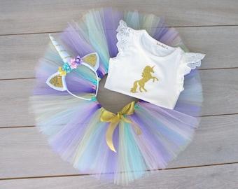 3 Piece Unicorn Cake Smash Outfit - Tutu, Headband & Flutter Sleeve Onesie