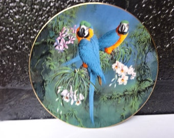 Wedgwood Bone China Collectors Plate/ Blue and Yellow Macaws from The Fragile Paradise Collection/Wedgwood China/Collectable/Wall Decor