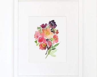 Bouquet of Poppies - Watercolor Art Print