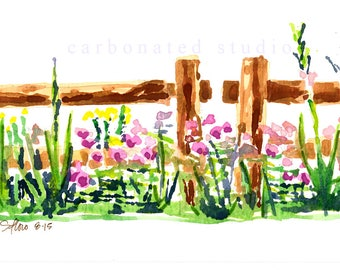 """Reprinted watercolor painting: """"Emma's Garden"""", 4"""" X 6 1/4"""" blank folded card"""