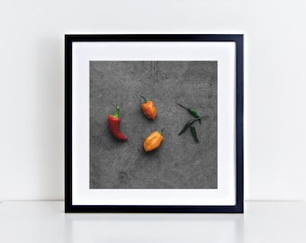 peppers v. one // food photography print // kitchen decor // kitchen wall art  // dining room wall art // rustic wall art // chili peppers