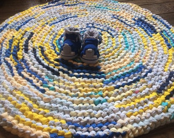 Yellow and Blue Flannel Rag Rug
