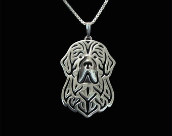 Newfoundland dog jewelry - sterling silver pendant and necklace