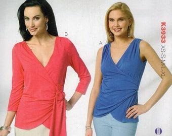 Free Us Ship Sewing Pattern Kwik Sew 3933 Misses Knit Wrap Tops Plus Size XS-XL Bust 30 32 34 36 38 40 42 44 45 Uncut 2012