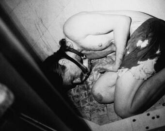 "Black and White Morbid Dark Art Film Photography - B&W Modern Abstract Creepy Death Blood Noir Home Wall Decor Photo Print - ""Slipped"""