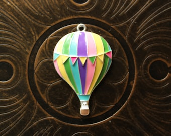 Rainbow Enamel Hot Air Balloon Pendant for Chunky Bubblegum Necklaces