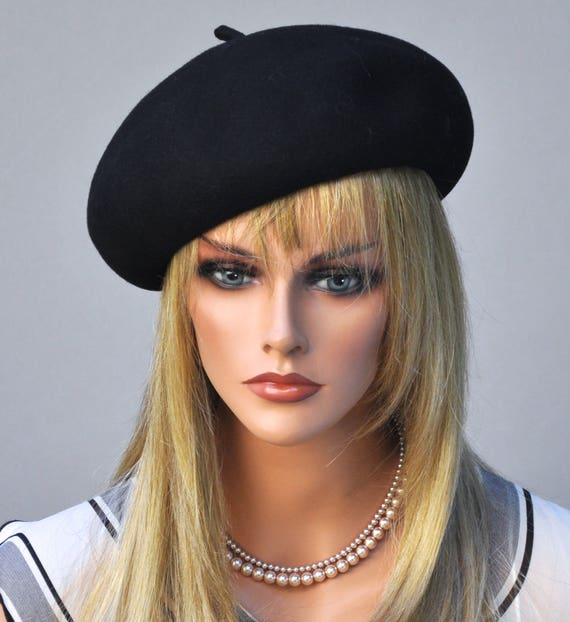 Black Beret, Women's Formal Hat. Women's Fall Hat, Winter Hat Ladies Black Hat Funeral Hat, Church Hat Dressy Hat Wool Felt Hat French Beret