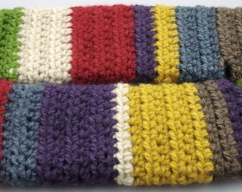 Multi-Colored Mohair Feel Striped Crocheted Arm Warmers (size S-M) (SWG-AW-SJ01)