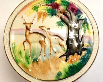 Charming Vintage Ceramic Round Vase with Deer Woodland Forest Scene Ucagco China Made in Japan