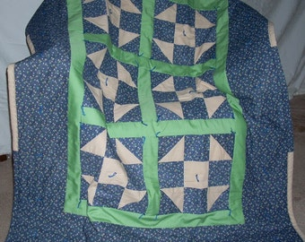 Shoo Fly Quilt in Blue and Green