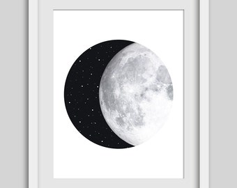 Moon Print, Moon Art, Night Sky, Moon and Stars, Circle Print, Geometric Print, Geometric Art, Circle Art, Instant Download