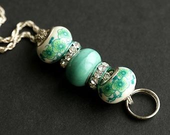 Beaded Lanyard. Mint Green Lanyard. Light Green Badge Lanyard. Handmade Id Lanyard. Paris Green Badge Holder. Celadon Green Badge Necklace.