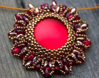 TUTORIAL - Super Nova, beaded pendant with Super Duo beads