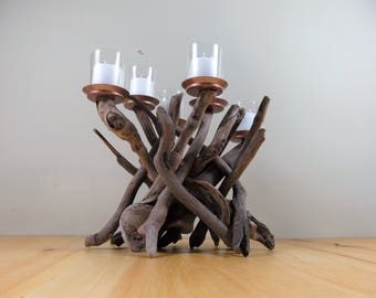 Driftwood Candleholder,Candelabra,Sculpture,Beach Decor,Coastal,Driftwood Decor,Nautical Decor,Wedding Decor,Wood.Centerpiece,Cottage,Rustic