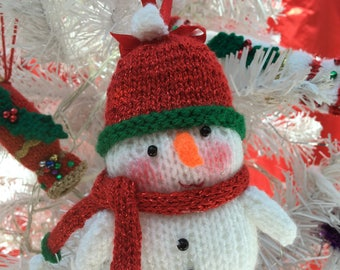 Snowman Hand-knitted Bauble