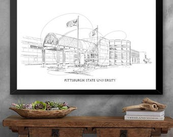 Pittsburgh State University Art Print, Hand Drawn, PITTSTATE, Tech, State College Signed Art ( Sizes  5 x 7, 8 x 10, 13 x 19, 16 x 20)