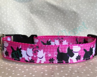 Pink Tartan Westie Scottie Dog Collar