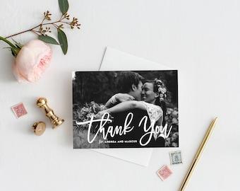 PRINTABLE Thank You Postcard - Hand Lettered Script Photo Thank You Postcard - Wedding Thank You Overlay Postcard - Customizable Colors