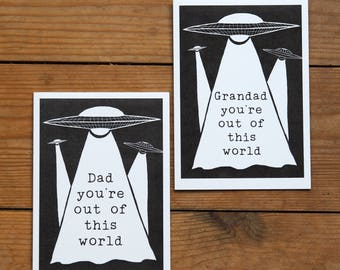 Out Of This World personalised card - dad card - grandad fathers day - fathers day card - step dad card - spaceship - flying saucer - sci fi