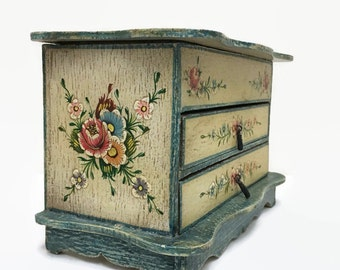 Vintage Wooden Jewelry Box - Two Drawers & Mirror - Hand Painted Flowers