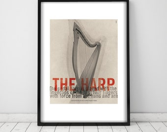 The Harp. Wall decor art. Poster. Illustration. Digital print. Music. Musical instrument.