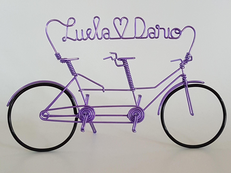 Fahrrad Miniatur Tandem in Aluminiumdraht