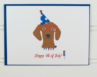 4th of July Card, Fourth of July, Dog Card, Happy 4th of July, from the Dog, Funny Card, for Dog Owner, Mom, Dad, Friend, Aunt, Cute Card