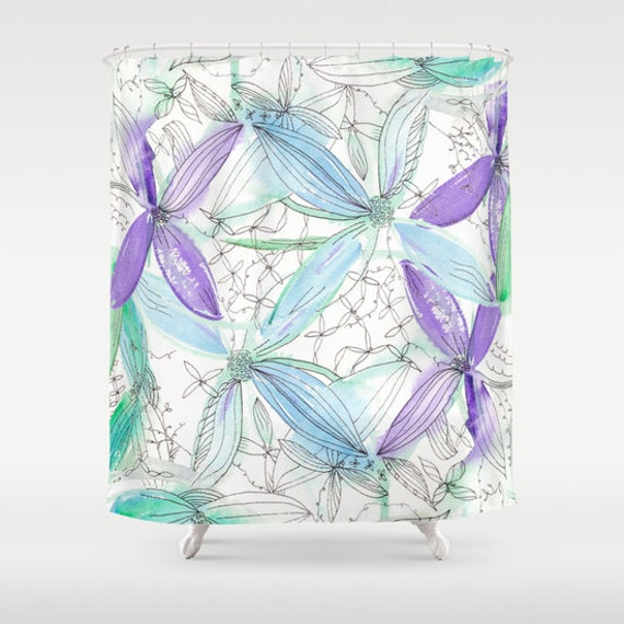purple and teal shower curtain.  Zoom Spring Floral Shower Curtain Watercolor Purple And Teal