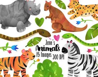 Watercolor Safari Animals Clipart - Wild Animals Download - Instant Download - Watercolor Cute Zebra, Kangaroo, Tiger, Cheetah, and more!