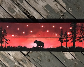 Light up painting / bear / original art / red / one of a kind