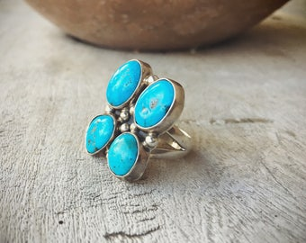 Large Turquoise Ring Native American Indian Jewelry, American Indian Ring, Vintage Turquoise Jewelry Boho Jewelry Navajo Ring, Amazing Gift