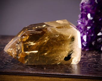 RESERVED- Large Citrine with Green Tourmaline- Positivity, Energy, Abundance