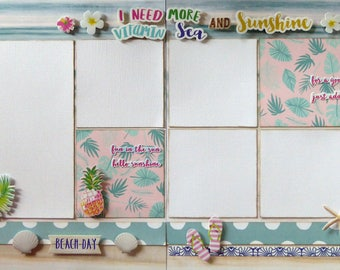 Double page 12 x 12 scrapbook layout kit - I need some vitamin sea