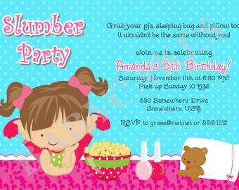 Sleepover Birthday Invitation Invite Slumber Party invitation invite sleepover invitation invite photo picture - Choose your girl