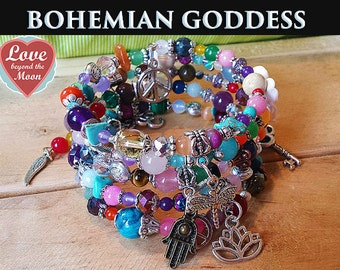 Bohemian Rainbow Wrap GEMSTONE GODDESS charm bracelets ~ 100's of Crystals Tibetan, Jasmine Flowers, Buddhist Beads Ancient Spiritual Charms