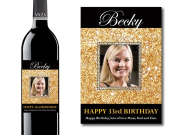 Personalised Photo Gold Dust Wine & Champagne Bottle Label