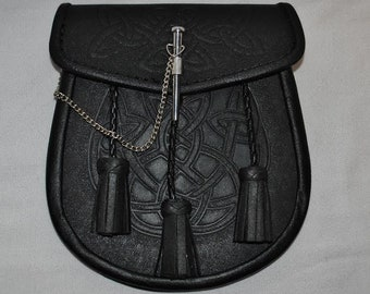 Black Leather Scottish Kilt Sporran With Pin Lock & Tassels