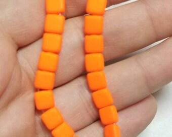 2 Hole Czech Glass Tile Beads, 6MM, Entire Strand (50 Beads) - Neon Orange