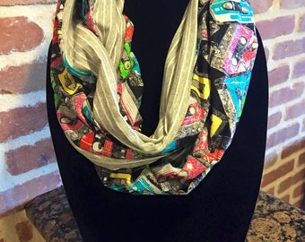 Multi-Color Cassettes with Gray/White Stripes Infinity Scarf